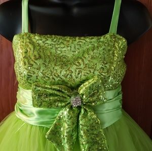 Other - Vtg Joy Kids Lime/gold Sequined  Party dress sz 12